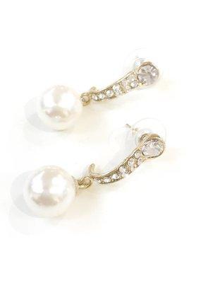 Gold Rhinestone Pearl Earrings