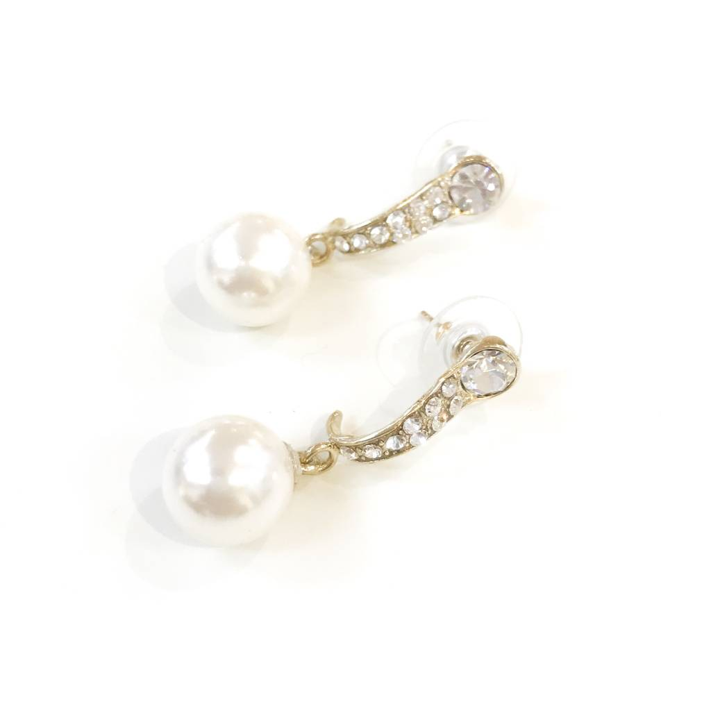 Gold Rhinestone Pearl Earrings