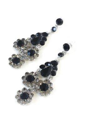 Silver and Black Rhinestone Dangling Flower Earrings