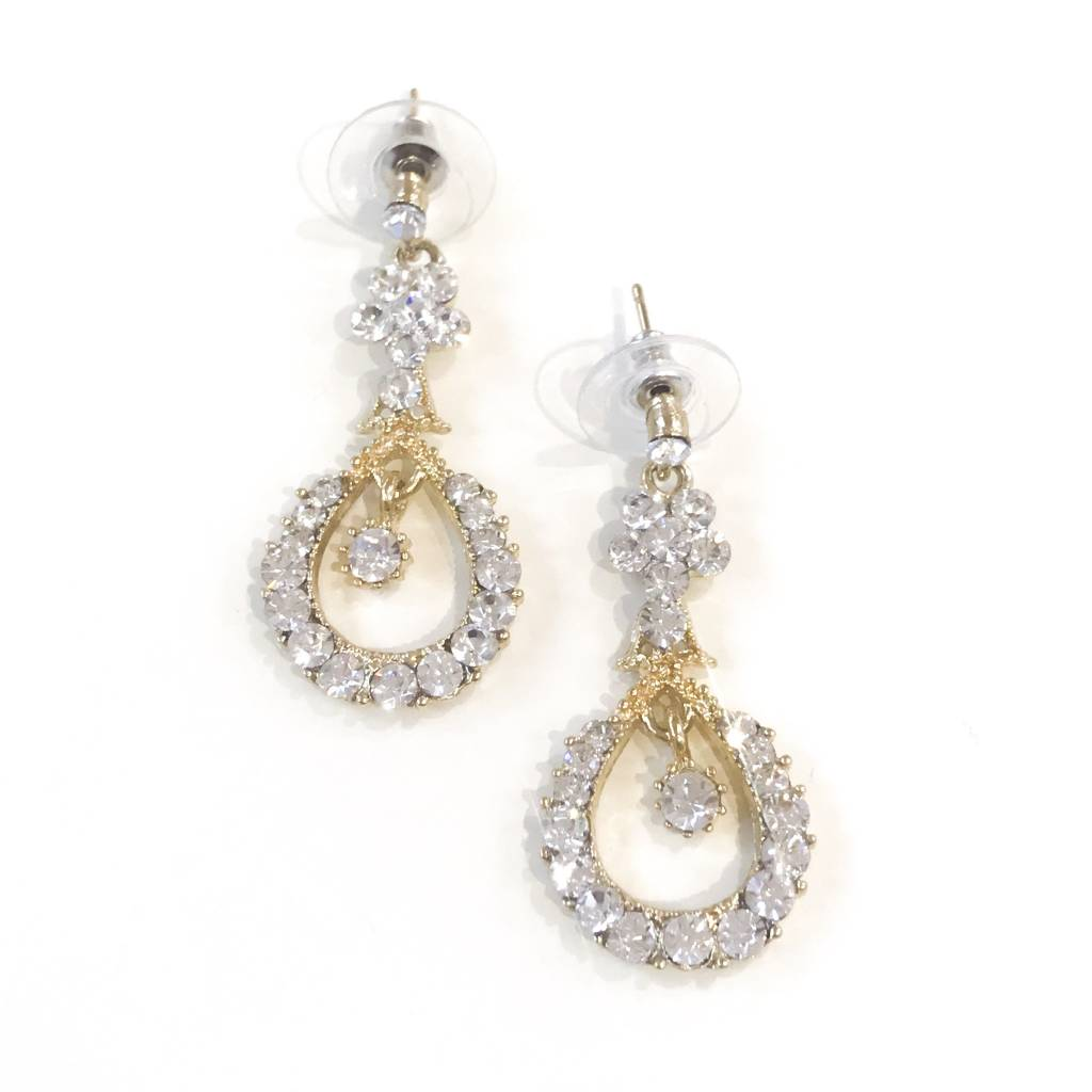 Gold Rhinestone Drop Earring