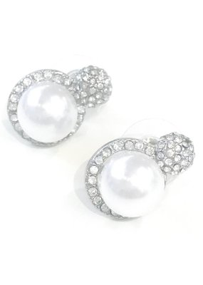 Silver Rhinestone w/ Pearl Stud Earring