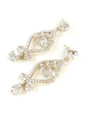 Gold Rhinestone Dangling Earrings