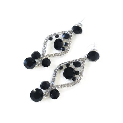 Black Rhinestone Dangling Earrings