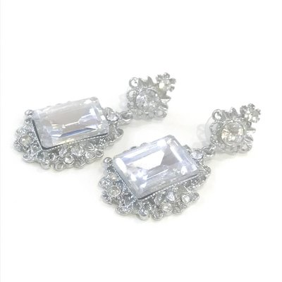 Vintage Style Silver Rhinestone Earring