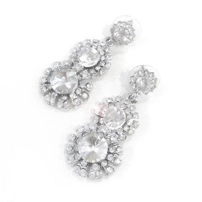 Layered Clear Rhinestone Earrings