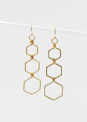 Brass Hexacomb Gold Filled Wire Earrings