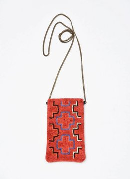 Red Multi Cross Small Beaded Cross Body Bag
