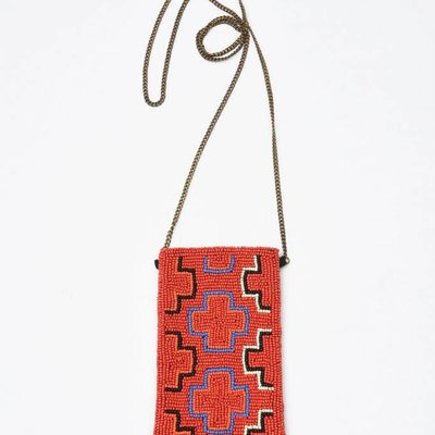 Ink + Alloy Red Multi Cross Small Beaded Cross Body Bag