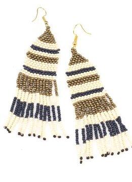 Navy Ivory Gold Stripe Seed Bead w Fringe Earring