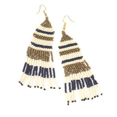 Ink + Alloy Navy Ivory Gold Stripe Seed Bead w Fringe Earring