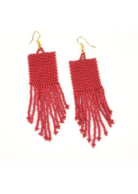Ink + Alloy Red Seed Bead Earring with Fringe