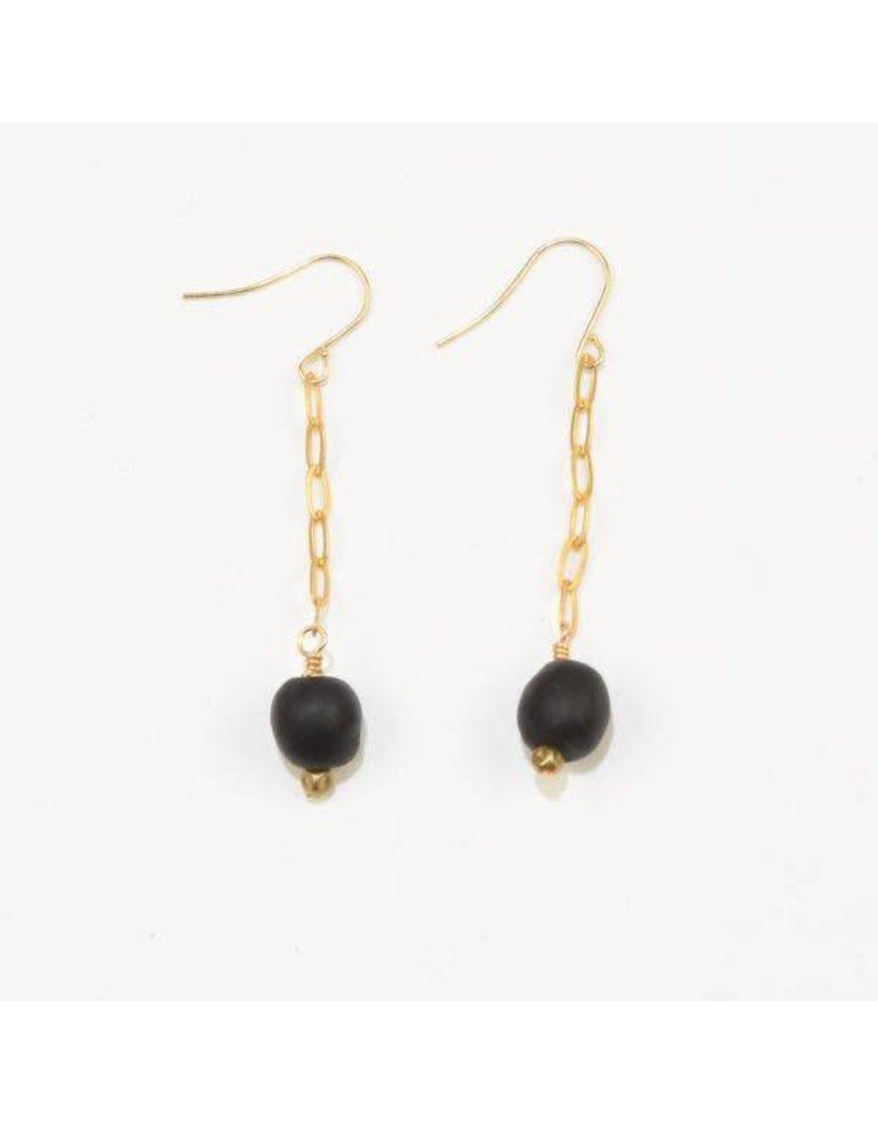 Ink + Alloy Black Petite Ghana Recylced Glass Drop & Chain Earring