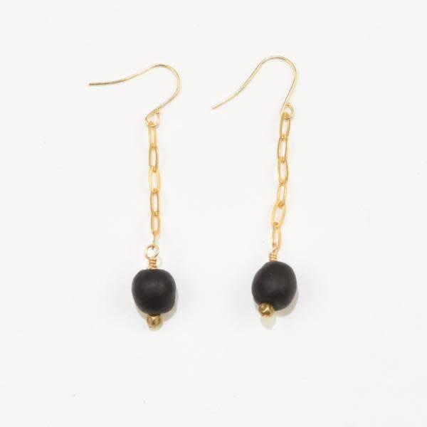 Black Petite Ghana Recylced Glass Drop & Chain Earring