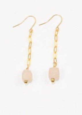 Pink Petite Ghana Recylced Glass Drop & Chain Earring