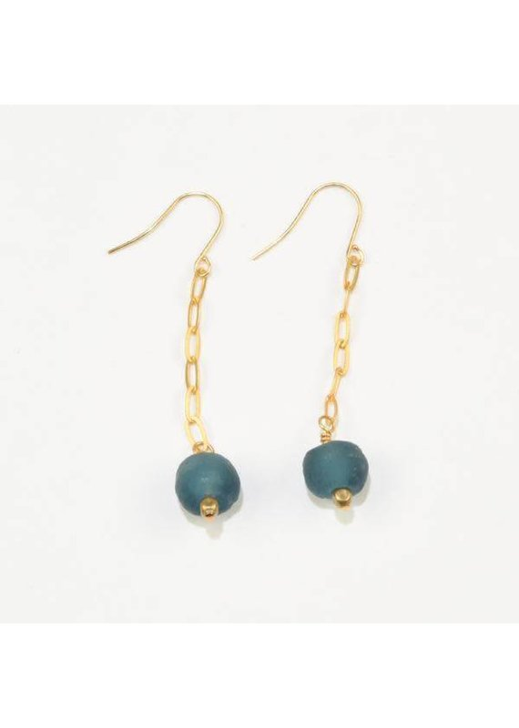 Ink + Alloy Teal Petite Ghana Recylced Glass Drop & Chain Earring