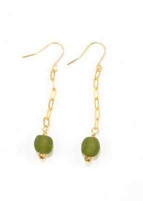Ink + Alloy Olive Petite Ghana Recylced Glass Drop & Chain Earring