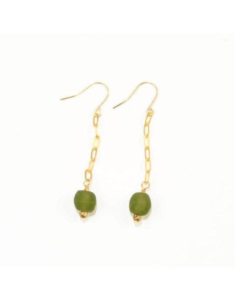 Ink + Alloy Olive Petite Ghana Recycled Glass Drop & Chain Earring