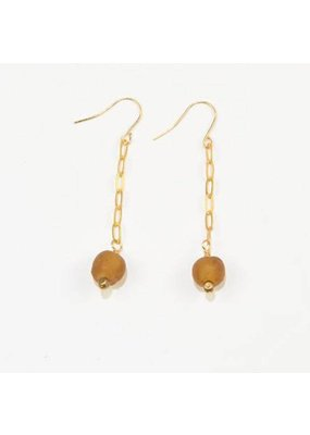Ink + Alloy Amber Petite Ghana Recylced Glass Drop & Chain Earring