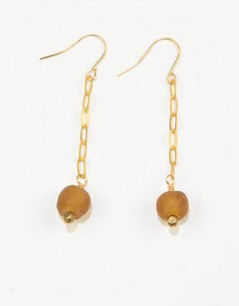 Amber Petite Ghana Recylced Glass Drop & Chain Earring