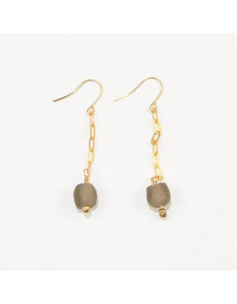 Ink + Alloy Taupe Petite Ghana Recycled Glass Drop & Chain Earring