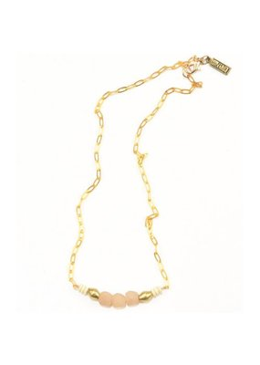 Ink + Alloy Pink Petite Ghana Glass Bead Necklace