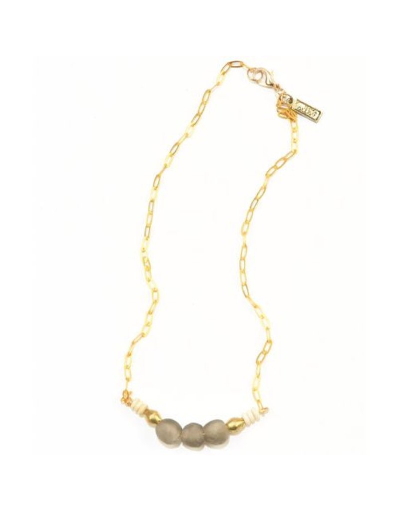 Ink + Alloy Taupe Petite Ghana Glass Bead Necklace