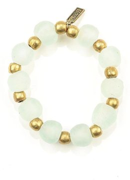 Clear Ghana Glass Recycled Glass and Brass Bead Stretch Bracelet