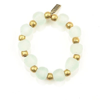 Ink + Alloy Clear Ghana Glass Recycled Glass and Brass Bead Stretch Bracelet