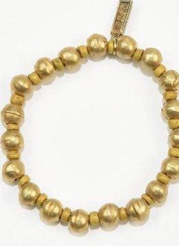 Mustard Pucalet w African Brass Stretch Bracelet