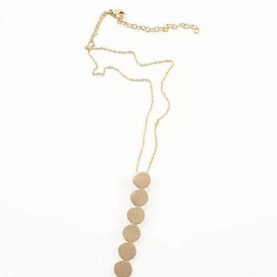 """Ink + Alloy Brass Line of Circles 16"""" Pendant Necklace"""