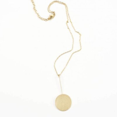 Ink + Alloy Brass Stick to Circle Pendant Necklace