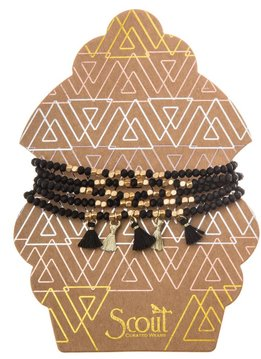 Scout Black & Gold Metallic Tassel Wrap