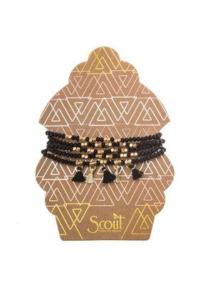 Scout Black & Gold Metallic Tassel Wrap