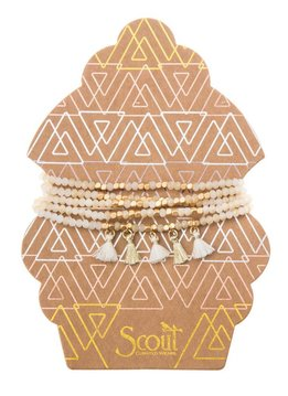 Scout Ivory & Gold Metallic Tassel Wrap