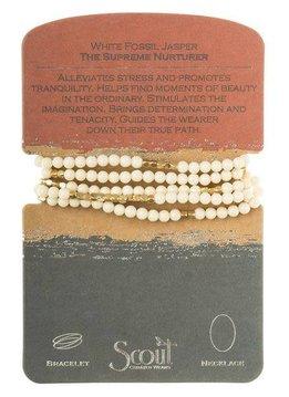 Scout White Fossil Jasper Stone Wrap Bracelet / Necklace