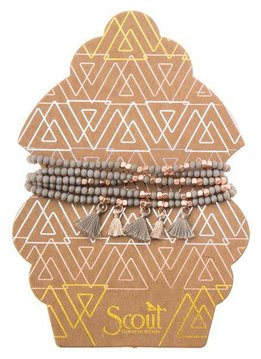 Scout Taupe & Rose Gold Metallic Tassel Wrap