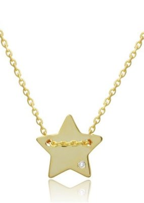 Italian Sterling Silver Gold Plated Engraveable Star w CZ Necklace