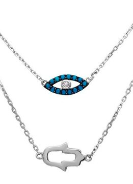 Qualita in Argento Italian Sterling Silver Layered Blue Evil Eye and Mother of Pearl Hamsa Choker