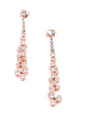 Qualita in Argento Italian Sterling Silver Rose Gold Plated Circle Crystal Drop Earrings