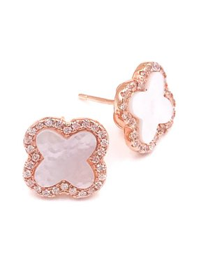 Qualita In Argento Mother of Pearl and Cubic Zirconia Italian Sterling Rose Gold Plated Clover Stud Earrings