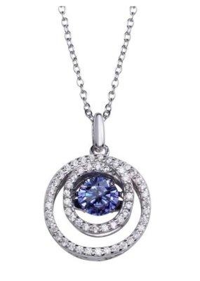 Qualita In Argento Sterling Silver Cirlce Blue Topaz Dancing Swarovski Stone Necklace