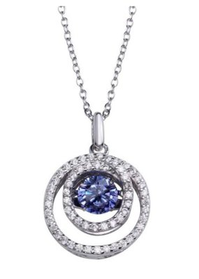 Sterling Silver Cirlce Blue Topaz Dancing Swarovski Stone Necklace