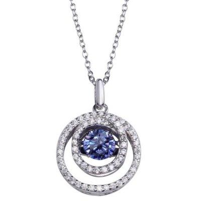 Qualita In Argento Italian Sterling Silver Cirlce Blue Topaz Dancing Swarovski Stone Necklace