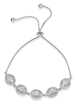 Italian Sterling Silver Halo Oval CZ Adjustable Bracelet