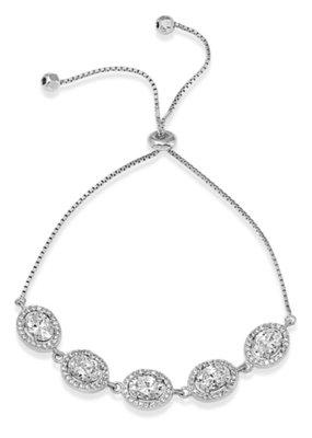 Qualita In Argento Italian Sterling Silver Halo Oval CZ Lariat Bracelet