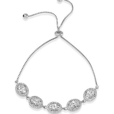 Sterling Silver Halo Oval CZ Lariat Bracelet