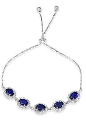 Sterling Silver Halo Blue Oval CZ Lariat Bracelet