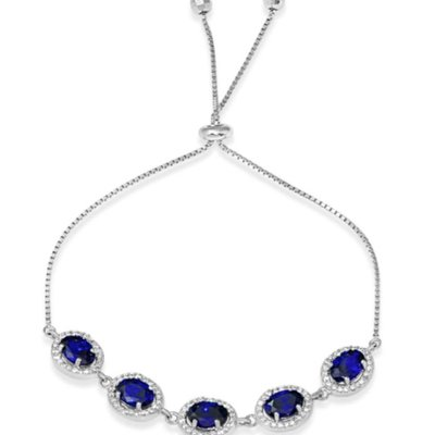 Qualita In Argento Italian Sterling Silver Halo Blue Oval CZ Lariat Bracelet