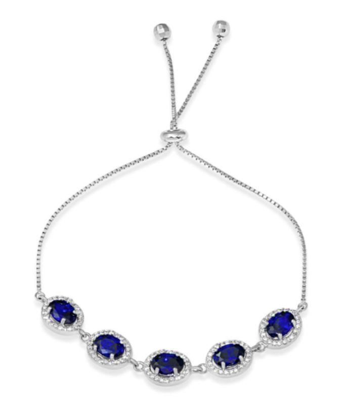 Italian Sterling Silver Halo Blue Oval CZ Adjustable Bracelet