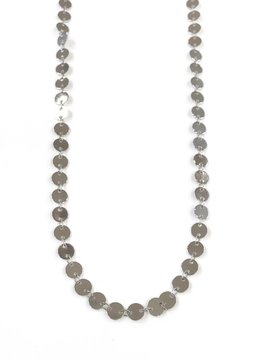 Long Silver Disc Necklace